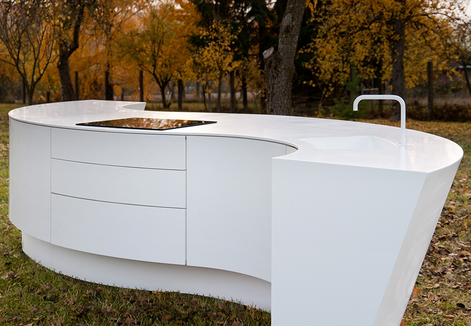 White Solid Surface Kitchen Counter Arc Shape