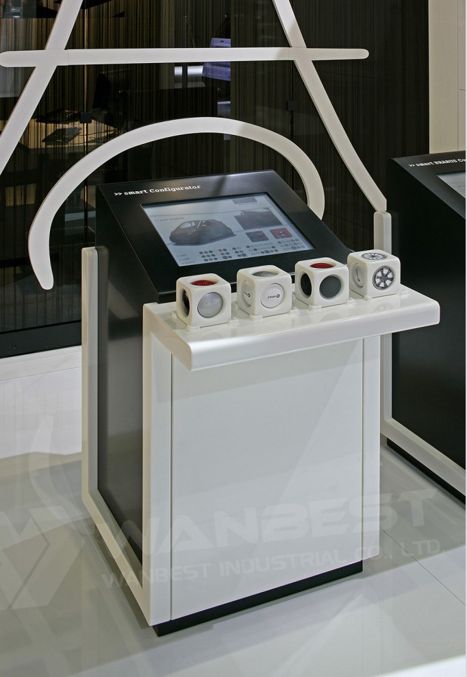 Customized Design White  Hi Macs Mobole Exhibition Counter