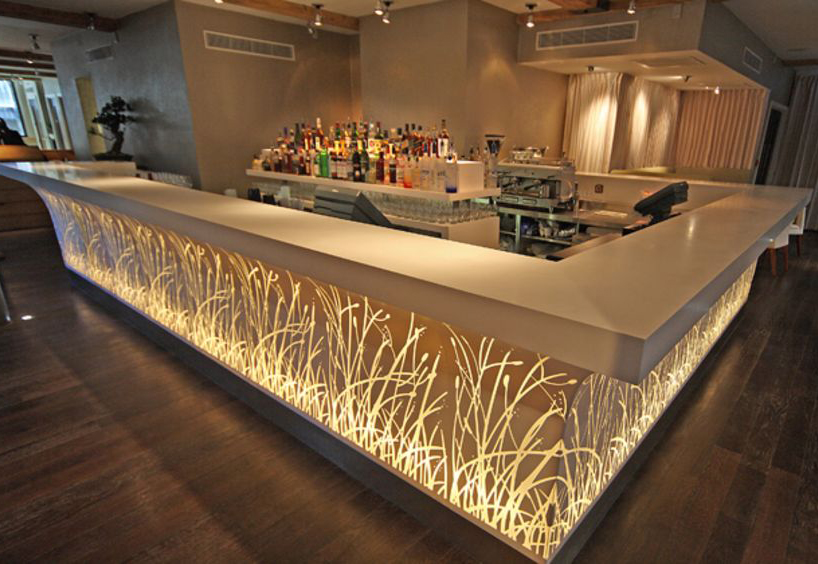 led bar counter made of material structure