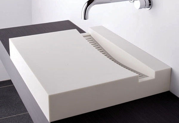 Rectangular White Solid Surface Stone Composite Sinks