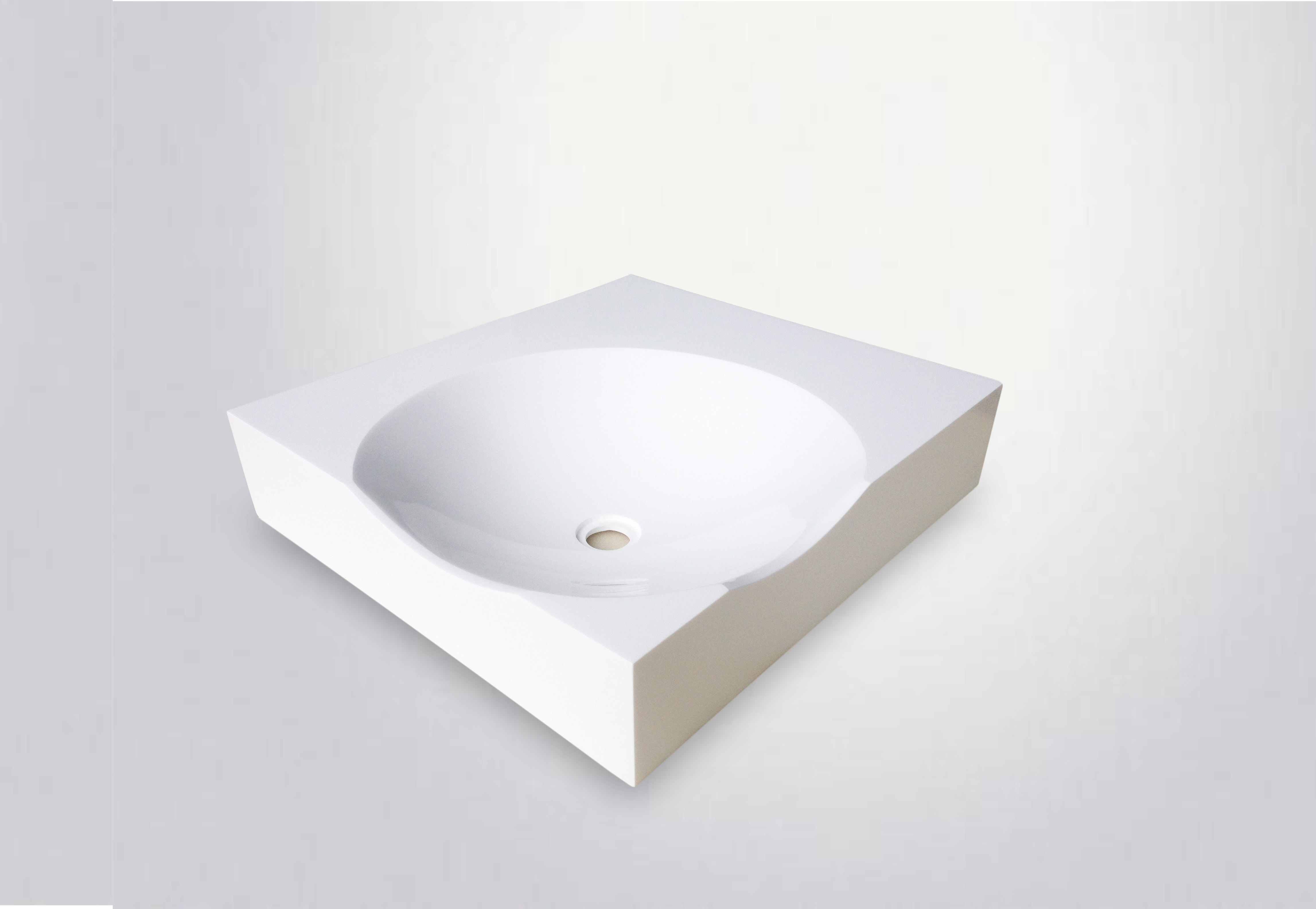 Square White Custom Design Bathroom Sink Singl Bowls