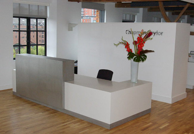 Front Desk L Shape White Corian Top Classic Design