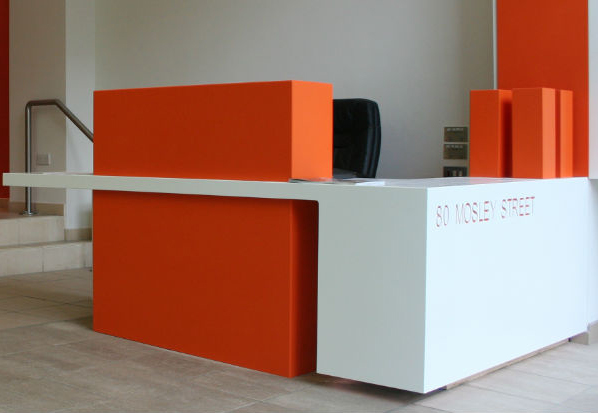 Modern Reception Office Furniture Red Solid Surface Design