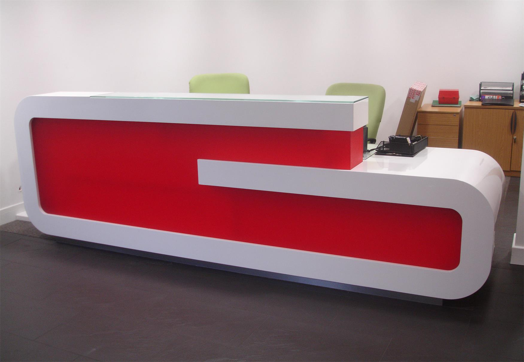 G Shape Custom Design Reception Desk Supplier Red White