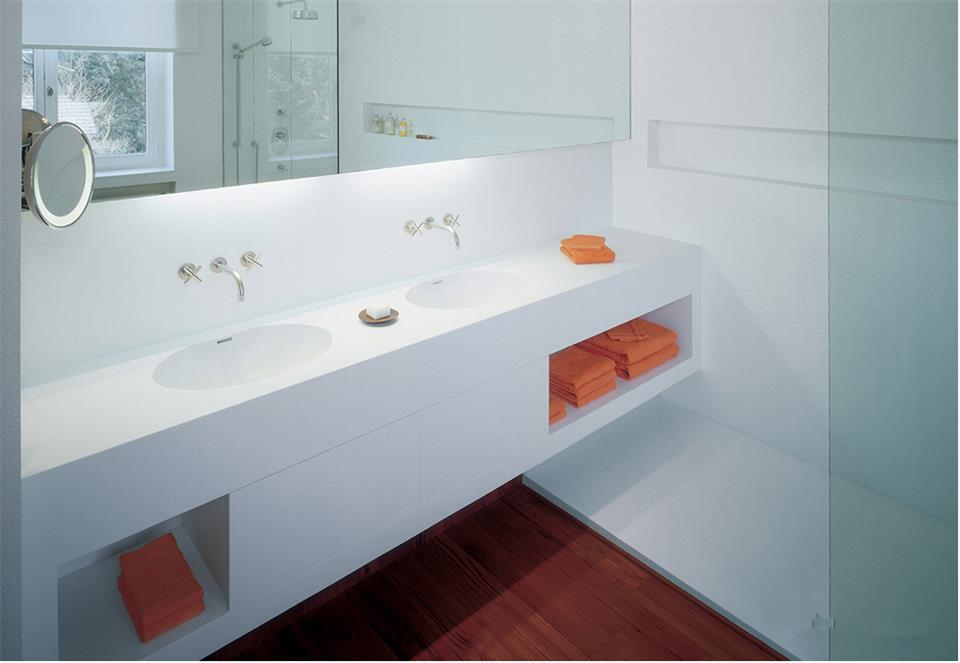 Corian Bathroom Vanity Tops : Double sink corian formica hi macs solid surface vanity