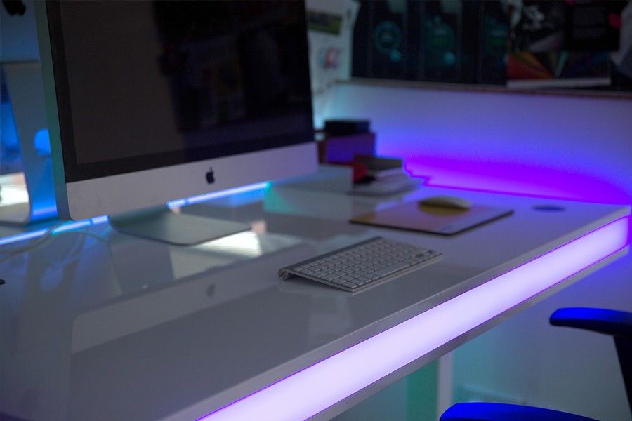 Unique adjustable office desk with LED lights