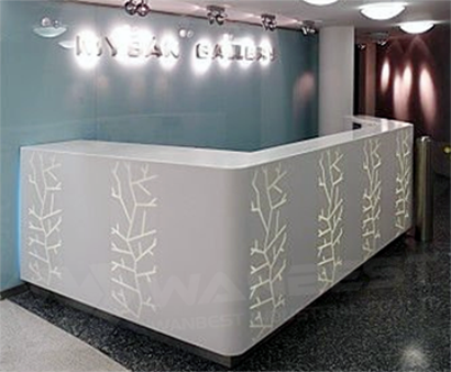 Led white salon reception desk counter
