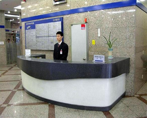 Custom hotel reception desk counter