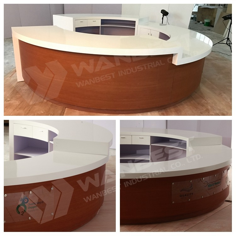 u shape reception counter