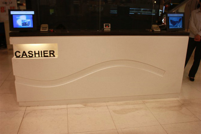 black reception counter