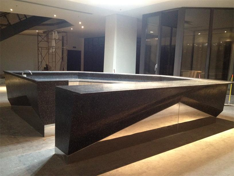 Luxury restaurant black quartz reception desk countertops
