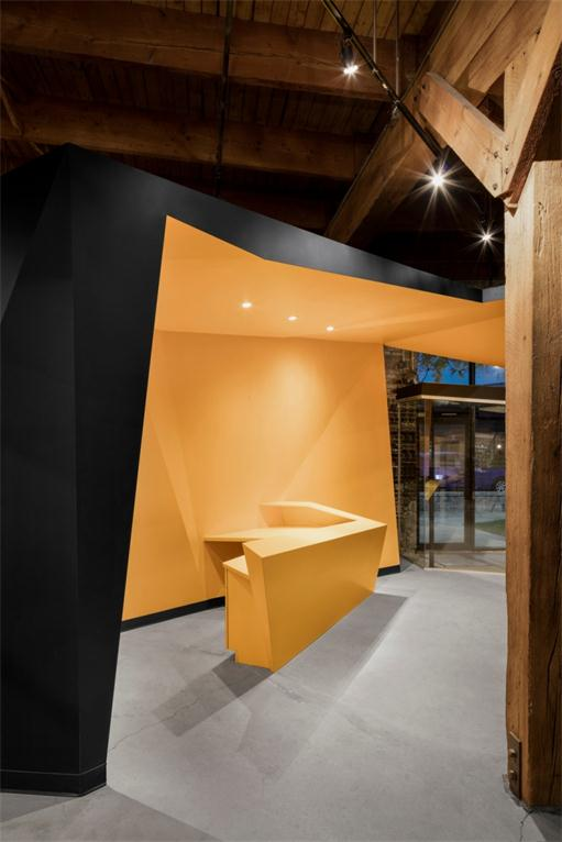 orange reception desk