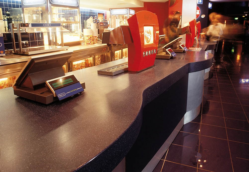 black stone tops and stainless steel base fast food restaurant counter