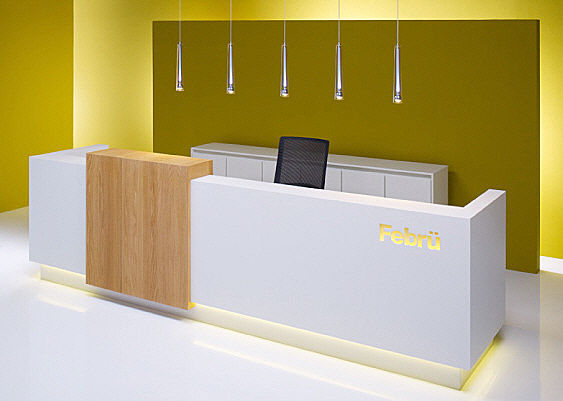 Hotel white solid surface and wood information reception desk with customized logo