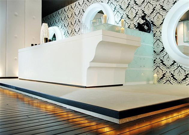 carved corian reception counter