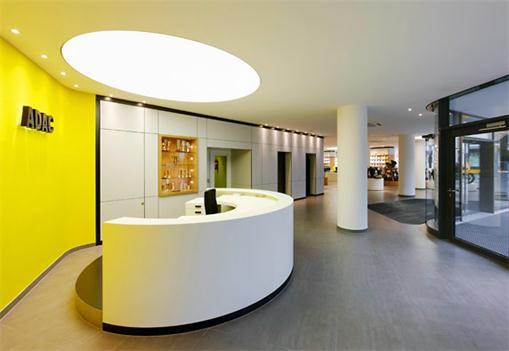 Lobby white half circle reception desk