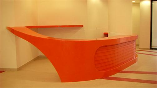 Special design orange curved reception counter