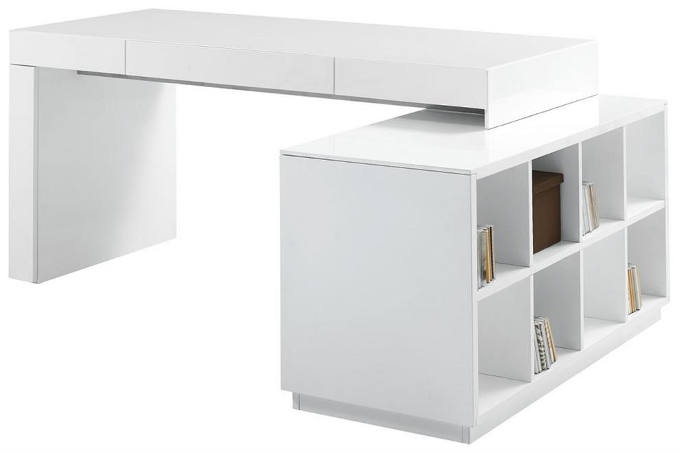 Simple computer desk with file cabinet design