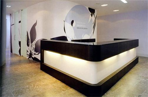 Hotel black salon reception counter