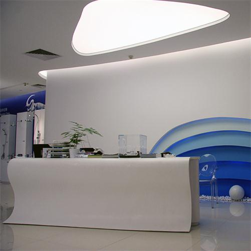 Durable white healthy material reception counter