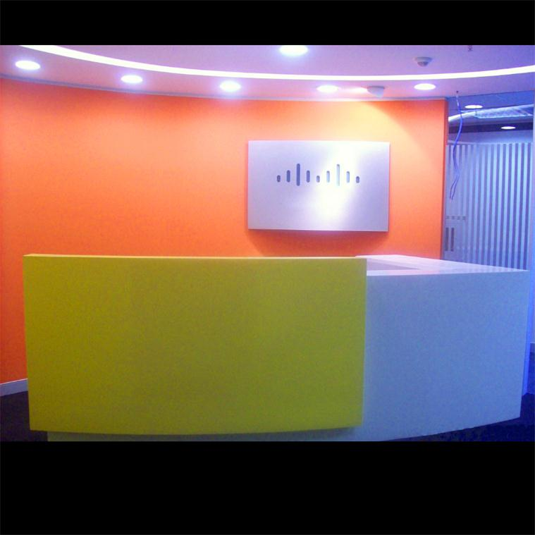 Colorful L shaped information reception counter