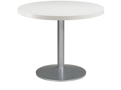 White Round Dining Table Single Leg For Sale