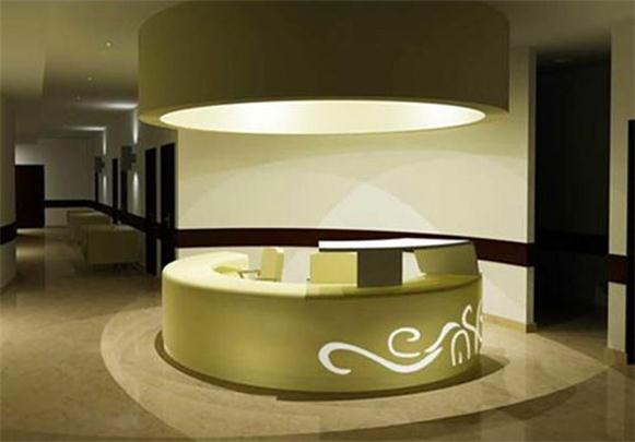 Special cuvred design hotel salon reception counter