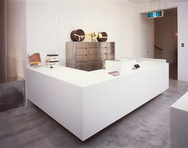 L shape white office reception counter