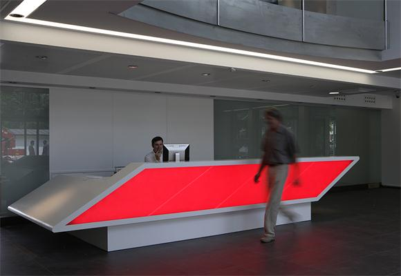 Red and white information service reception counter