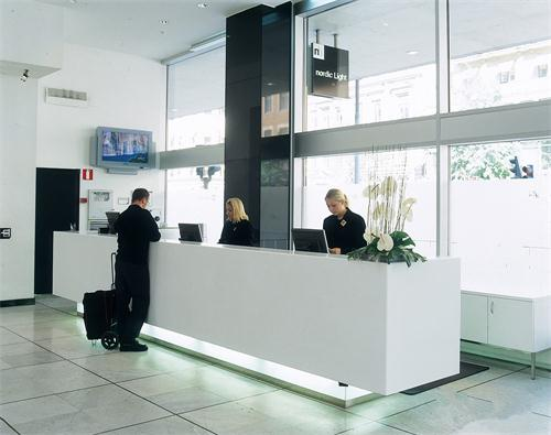 Hotel straight white reception desk