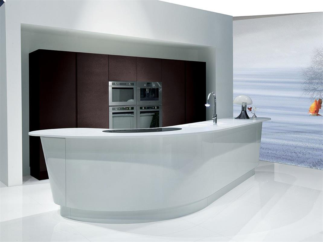 Open kitchen counter long straight design new style for sale