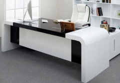 High gloss white and black acrylic solid surface director desk