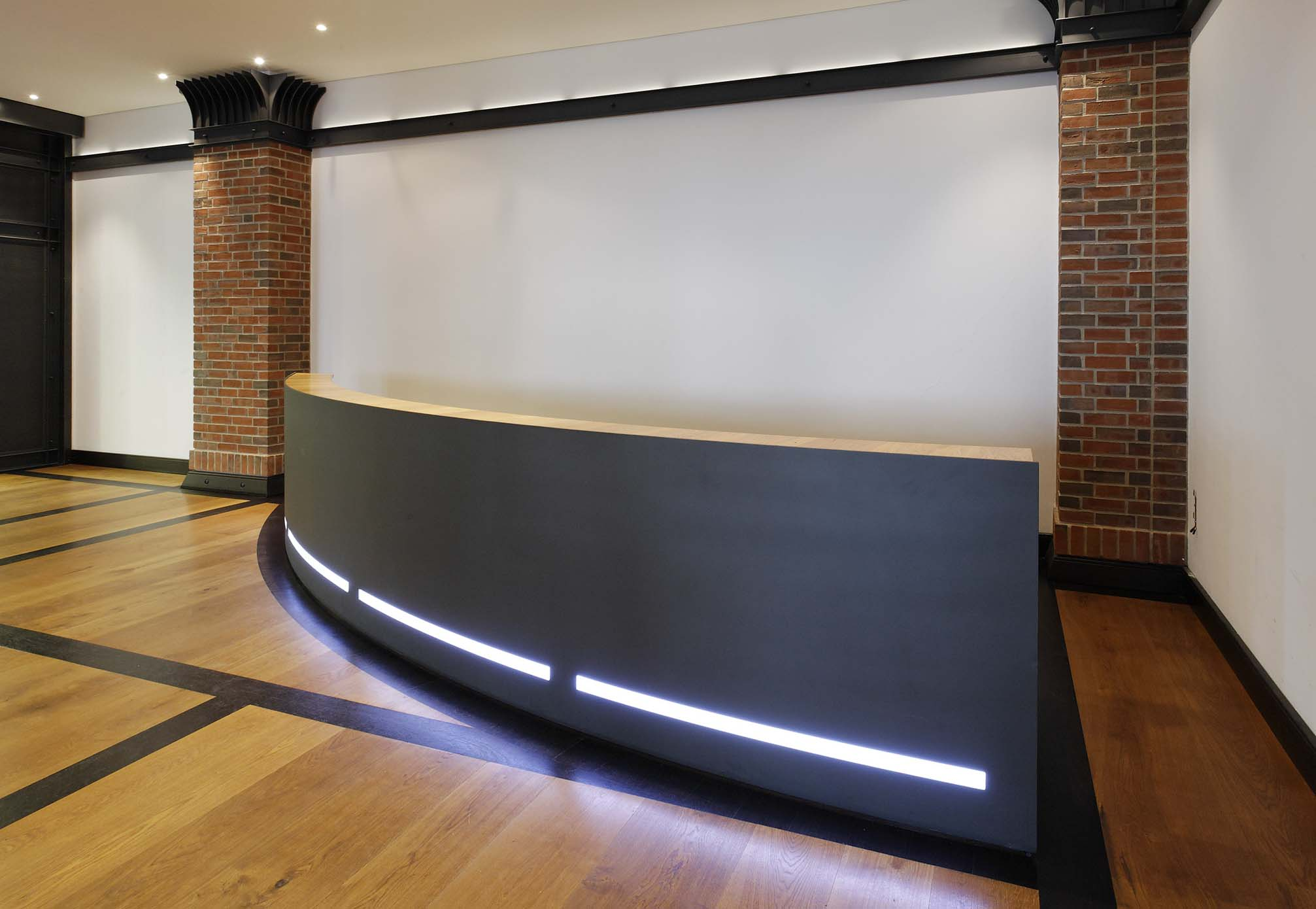 hospital black stone reception desk with led light