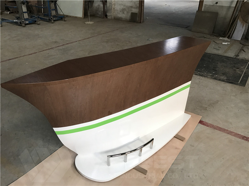 solid wood veneer boat shape bar counter supplier