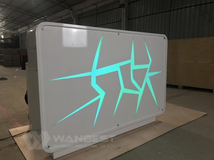 green led lighting reception desk
