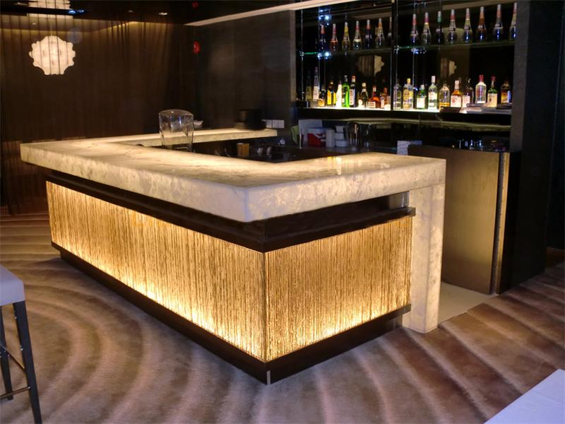 luxury led lighting illuminate stone bar counter