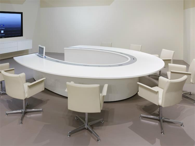 Round Custom Conference White Circle Meeting Table - Curved conference table