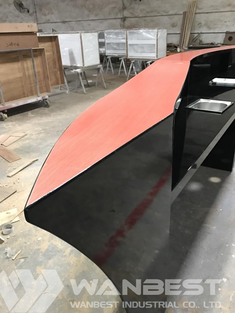 Black Lacquer Wood Boat shape bar counter