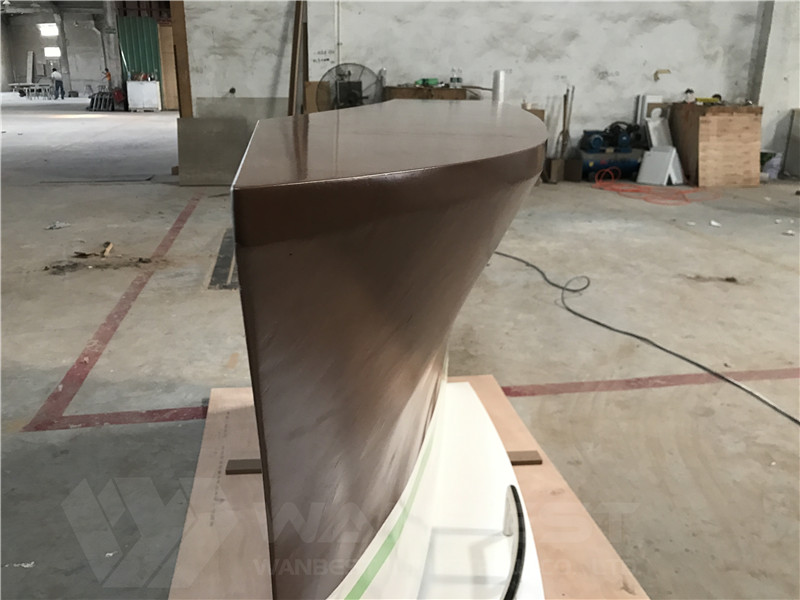 solid wood veneer boat shape bar counter custom design