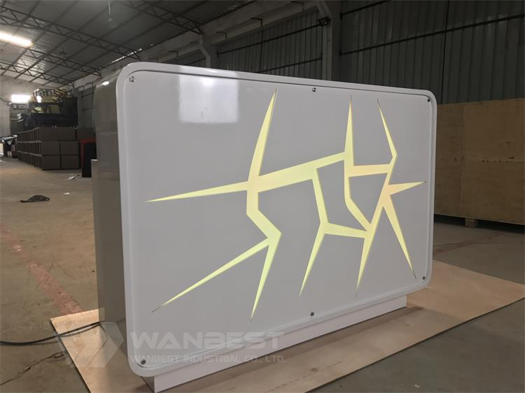 yellow led lighting reception desk
