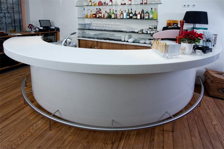 round white solid surface bar counter