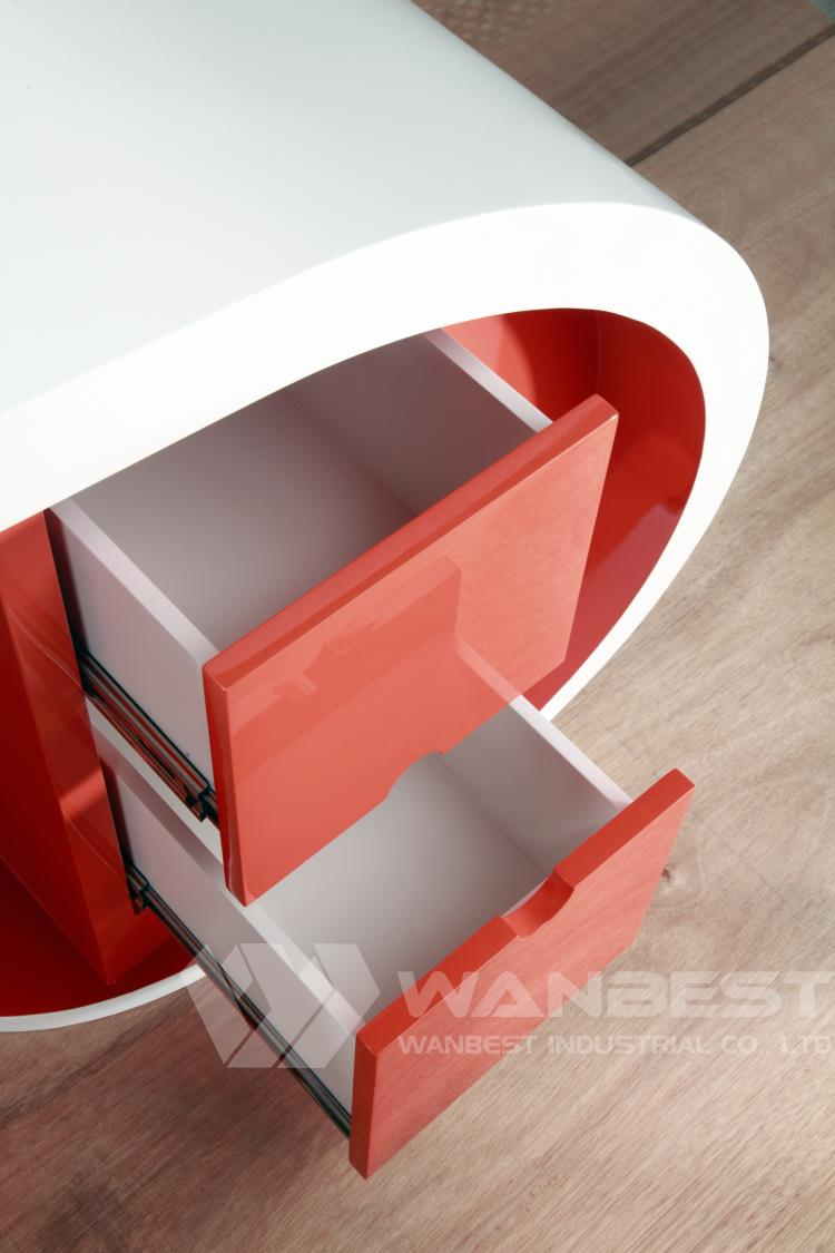RED WHITE MANAGER DESK DRAWER