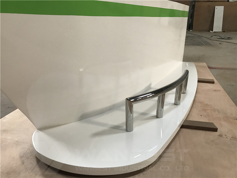 solid wood veneer boat shape bar counter stainless steel foot rail