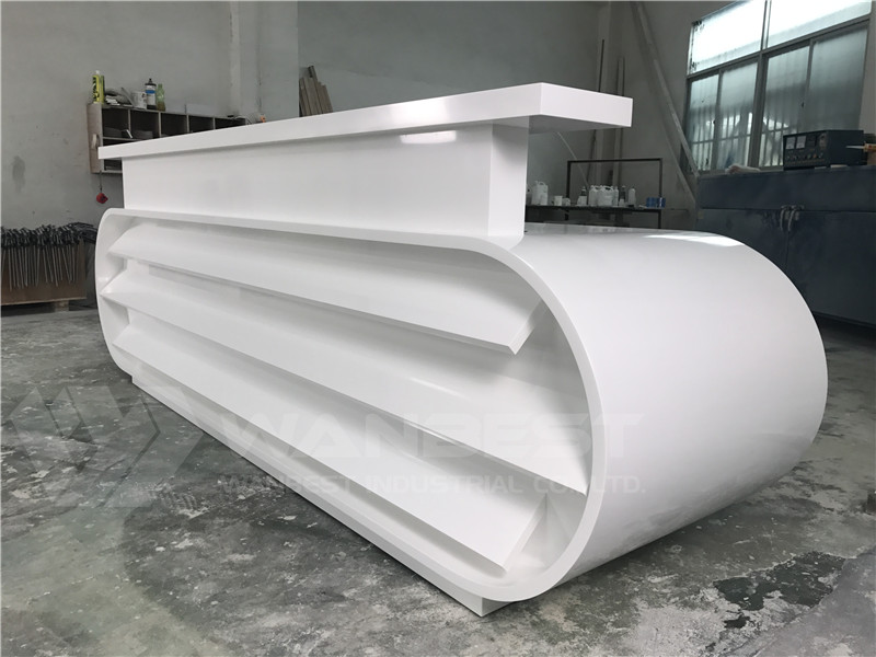 white reception desk solid surface