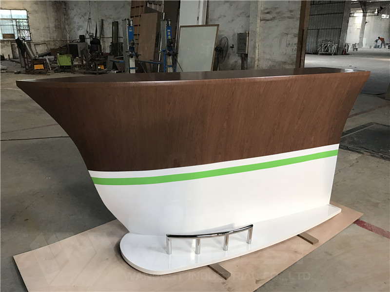 solid wood veneer boat shape bar counter movable