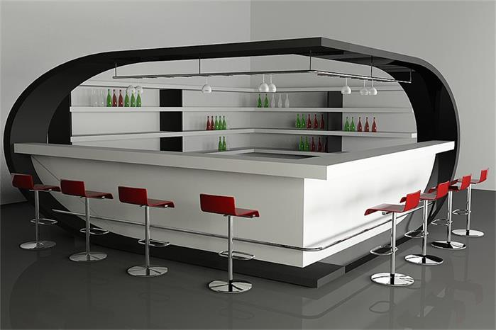 White Stylish Bistro Bar Counter High Quality  Stone