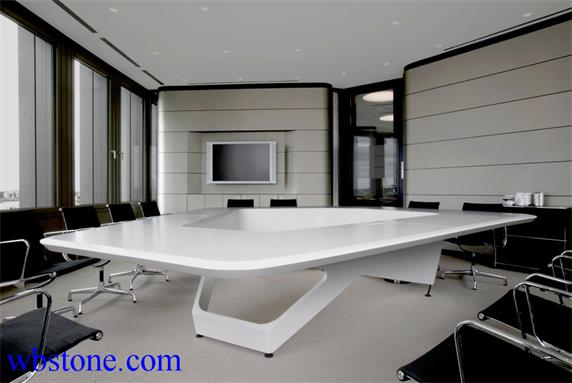 White Stone Polygon Large Conference Table Custom Design - Large white conference table