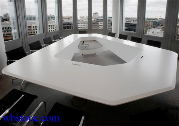 White Stone Large Polygon Conference table Custom Design