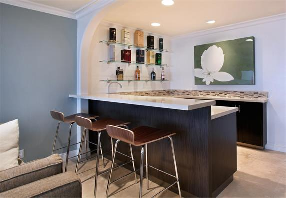 Exceptional Small Home Bar Counter Artificial Stone Top Custom Design