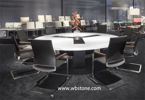 White Stone Top Conference Table Modern Design Round Shap